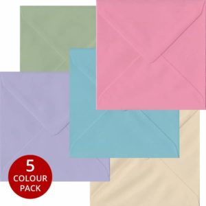 Pastel Pack 100 S4 Gummed Envelopes -Five Pastel Colours