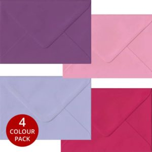 Pink Purple Pack 100 C6 Gummed Envelopes -Four Pink/Purple Colours