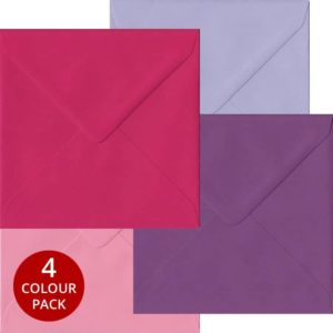Pink Purple Pack 100 S4 Gummed Envelopes -Four Pink/Purple Colours