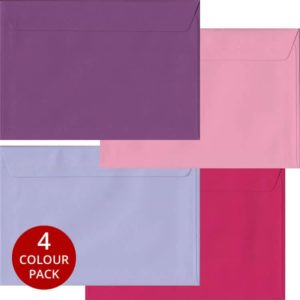 Pink Purple Pack 100 C5 Self Seal Envelopes -Four Pink/Purple Colours