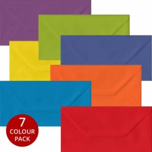 Rainbow Pack 105 DL Gummed Envelopes -Seven Different Colours