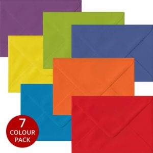 Rainbow Pack 105 C6 Gummed Envelopes -Seven Different Colours