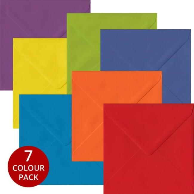 Rainbow Pack 105 S4 Gummed Envelopes -Seven Different Colours