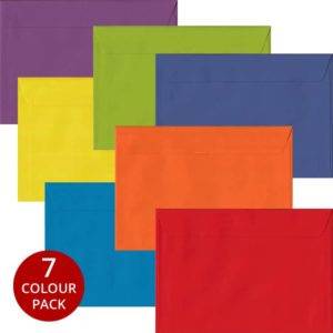 Rainbow Pack 105 C5 Self Seal Envelopes -Seven Different Colours