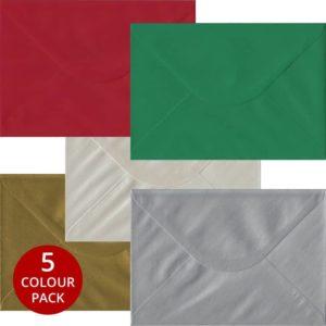 Xmas Pack 50 C5 Gummed Envelopes -Five Festive Colours