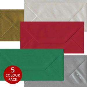 Xmas Pack 50 DL Gummed Envelopes -Five Festive Colours
