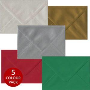 Xmas Pack 50 C6 Gummed Envelopes -Five Festive Colours