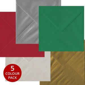 Xmas Pack 50 S4 Gummed Envelopes -Five Festive Colours