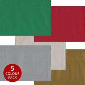 Xmas Pack 50 C5 Self Seal Envelopes -Five Festive Colours