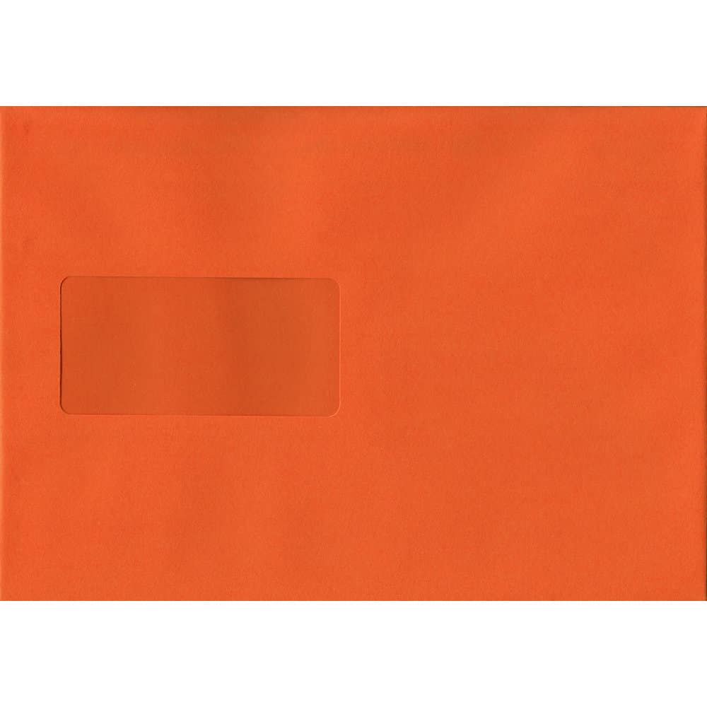 Orange Windowed 162mm x 229mm 120gsm Peel/Seal C5/A5/Half A4 Sized Envelope