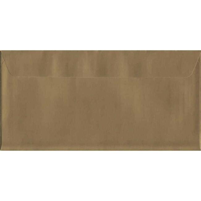 Metallic Gold Peel/Seal DL 114mm x 229mm 130gsm Luxury Coloured Envelope