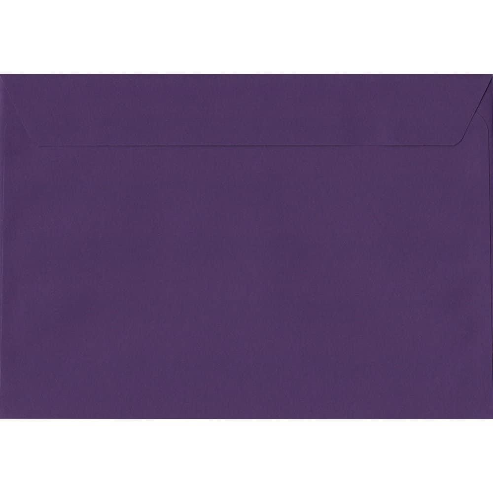 50 A4 Purple Envelopes. Blackcurrant. 229mm x 324mm. 120gsm paper. Peel/Seal Flap.