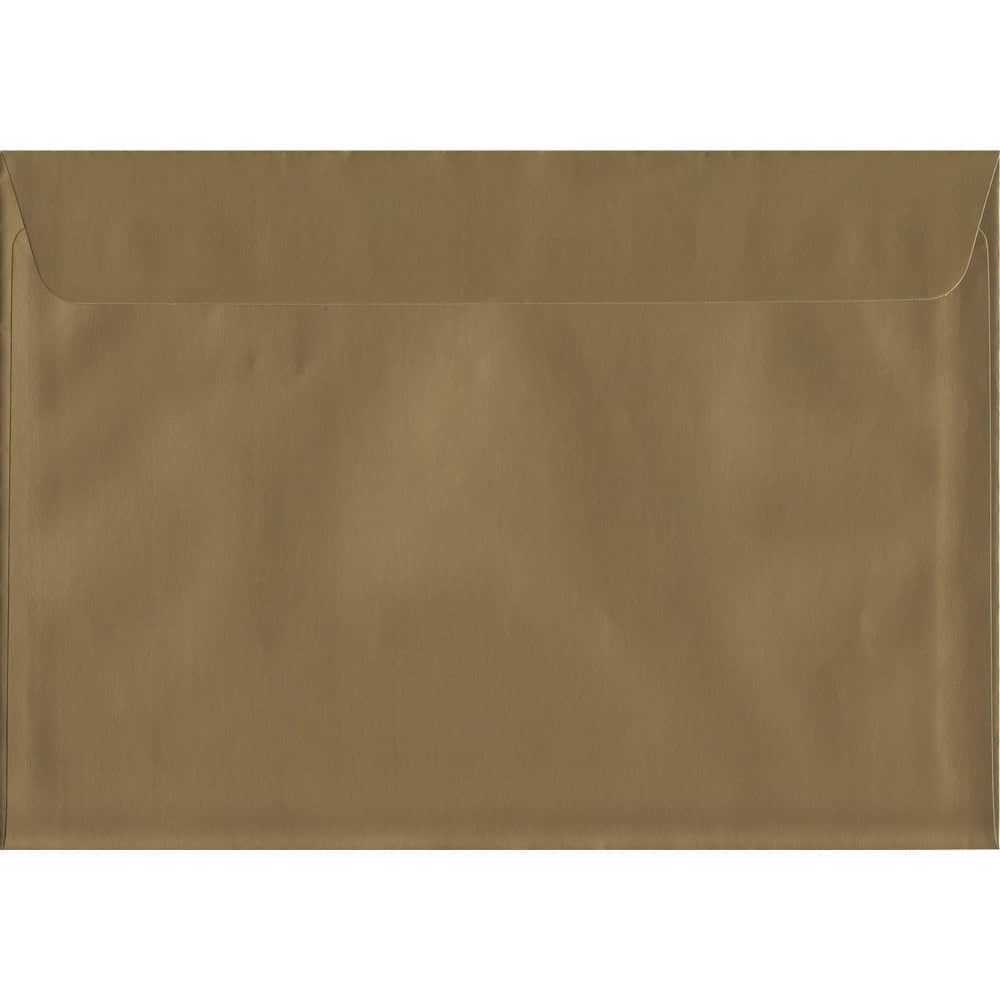 50 A4 Gold Envelopes. Metallic Gold. 229mm x 324mm. 120gsm paper. Peel/Seal Flap.