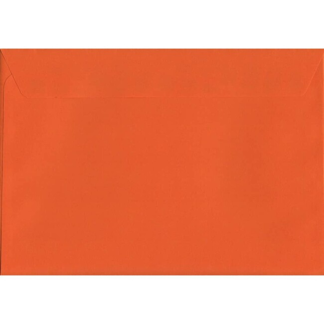 50 A4 Orange Envelopes. Sunset Orange. 229mm x 324mm. 120gsm paper. Peel/Seal Flap.