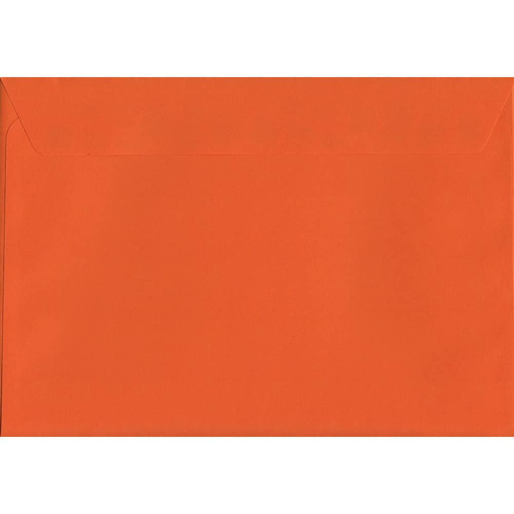 50 A4 Orange Envelopes. Sunset Orange. 229mm x 324mm. 120gsm paper. Peel/Seal Flap.