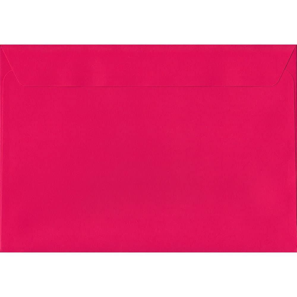 50 A4 Pink Envelopes. Shocking Pink. 229mm x 324mm. 120gsm paper. Peel/Seal Flap.