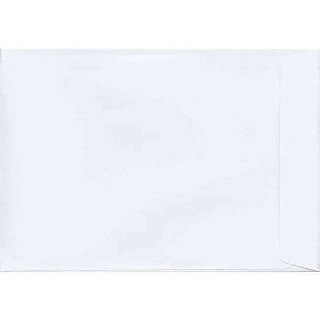 50 A4 White Envelopes. White. 229mm x 324mm. 120gsm paper. Peel/Seal Flap.
