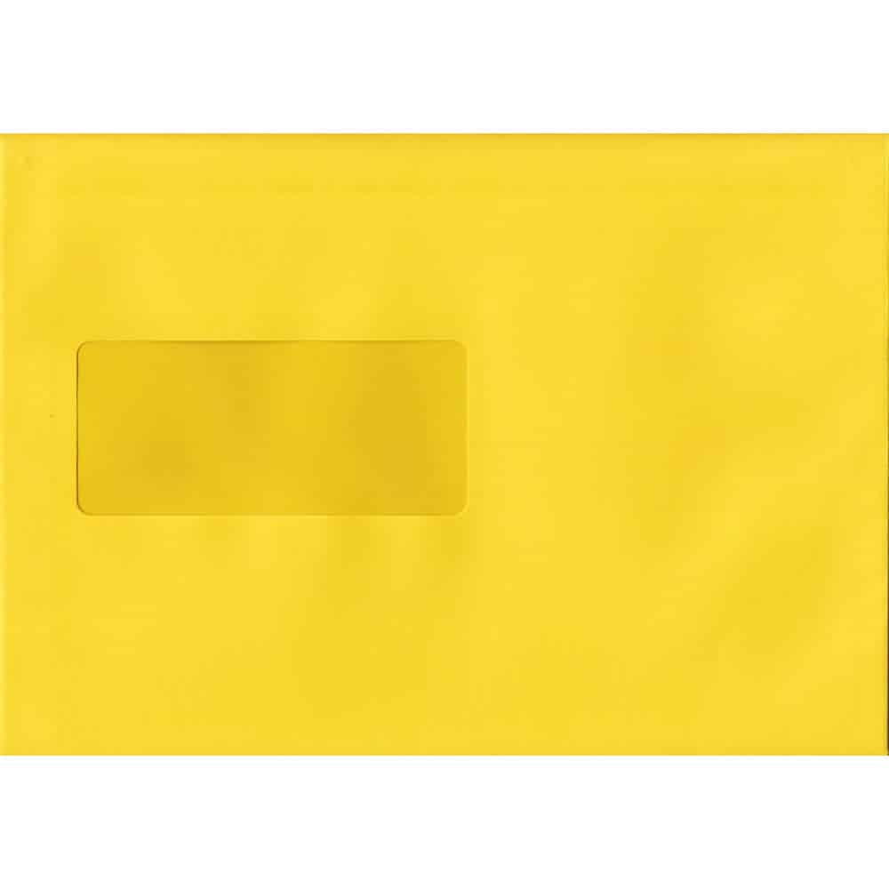 100 A5 Yellow Envelopes. Banana Yellow Windowed. 162mm x 229mm. 120gsm paper. Windowed P/S.