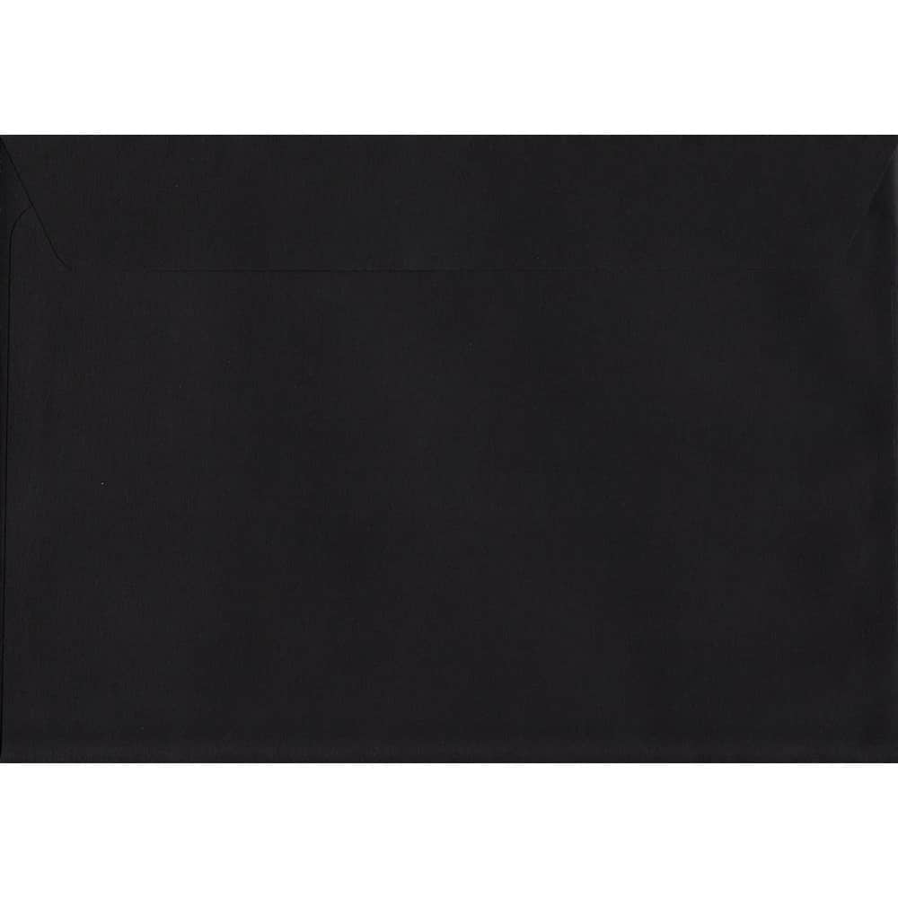 100 A5 Black Envelopes. Luxury Black. 162mm x 229mm. 120gsm paper. Peel/Seal Flap.