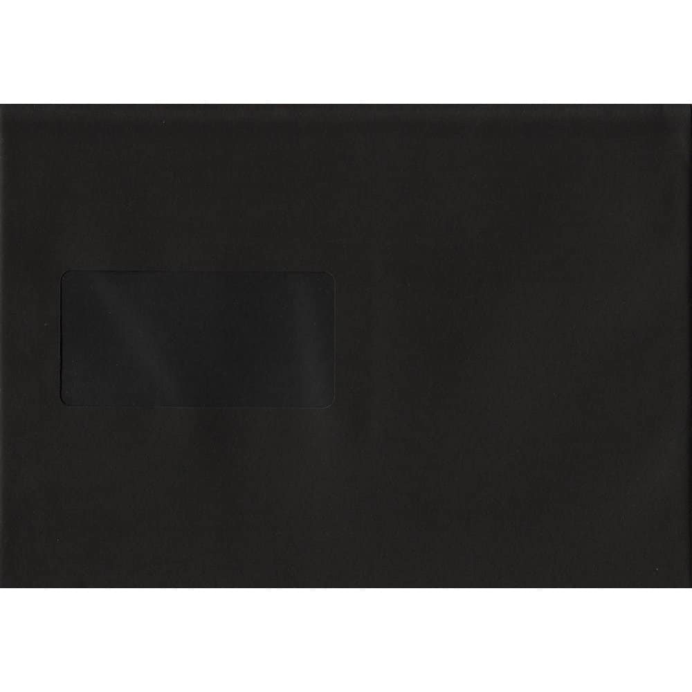 100 A5 Black Envelopes. Black Windowed. 162mm x 229mm. 120gsm paper. Windowed P/S.