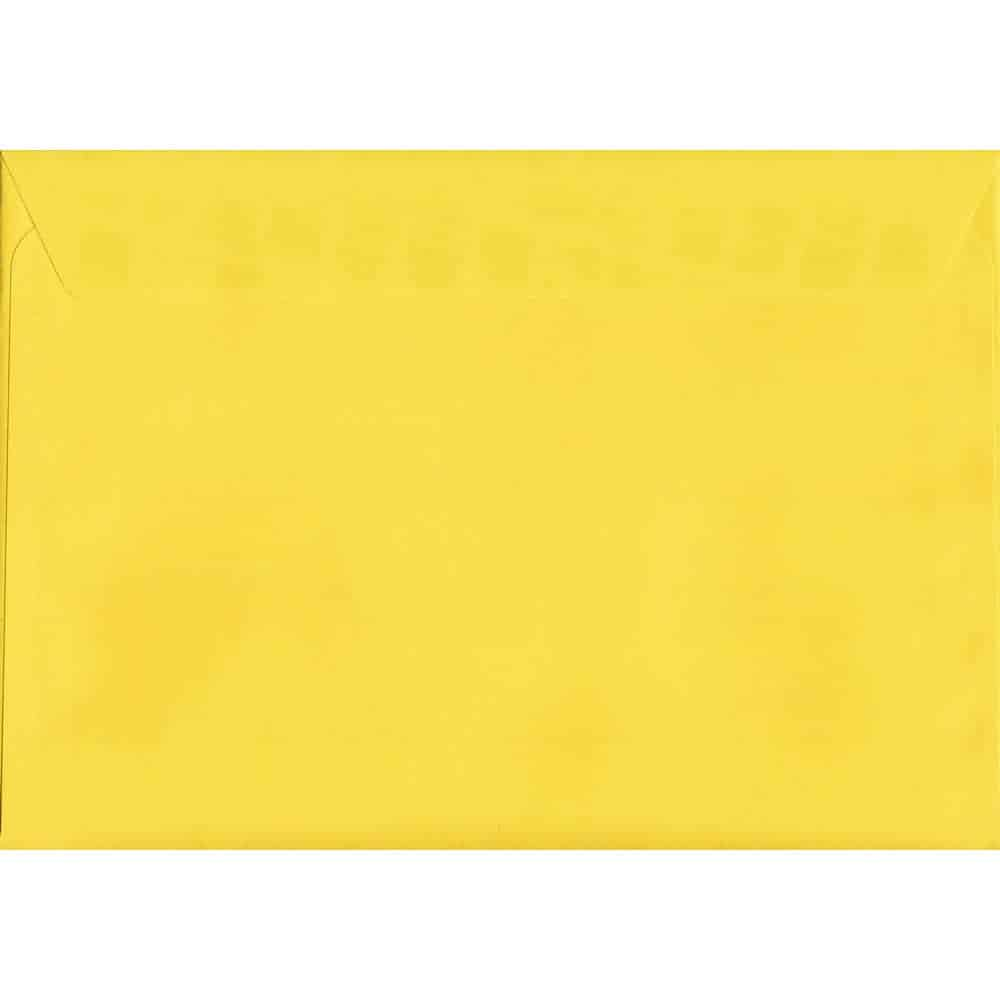 100 A5 Yellow Envelopes. Canary Yellow. 162mm x 229mm. 120gsm paper. Peel/Seal Flap.