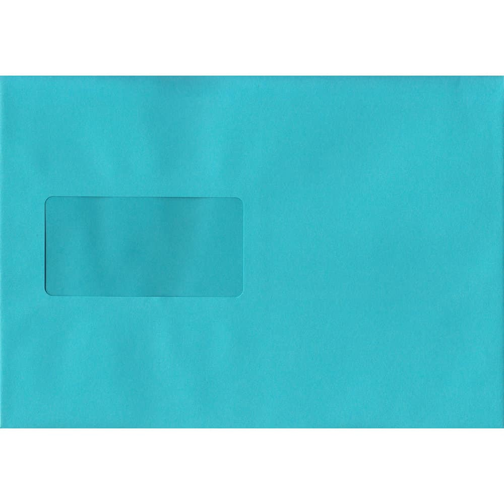 100 A5 Blue Envelopes. Cocktail Blue Windowed. 162mm x 229mm. 120gsm paper. Windowed P/S.