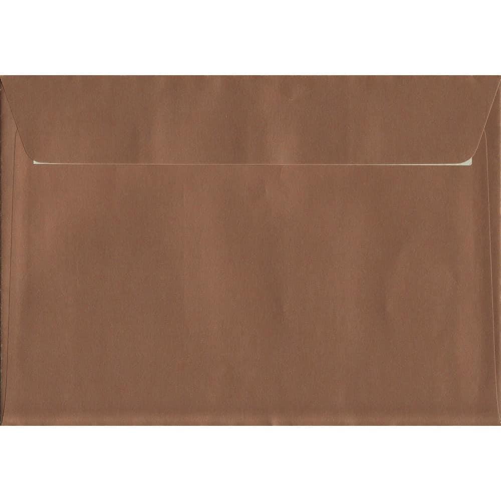 100 A5 Copper Envelopes. Metallic Copper. 162mm x 229mm. 120gsm paper. Peel/Seal Flap.