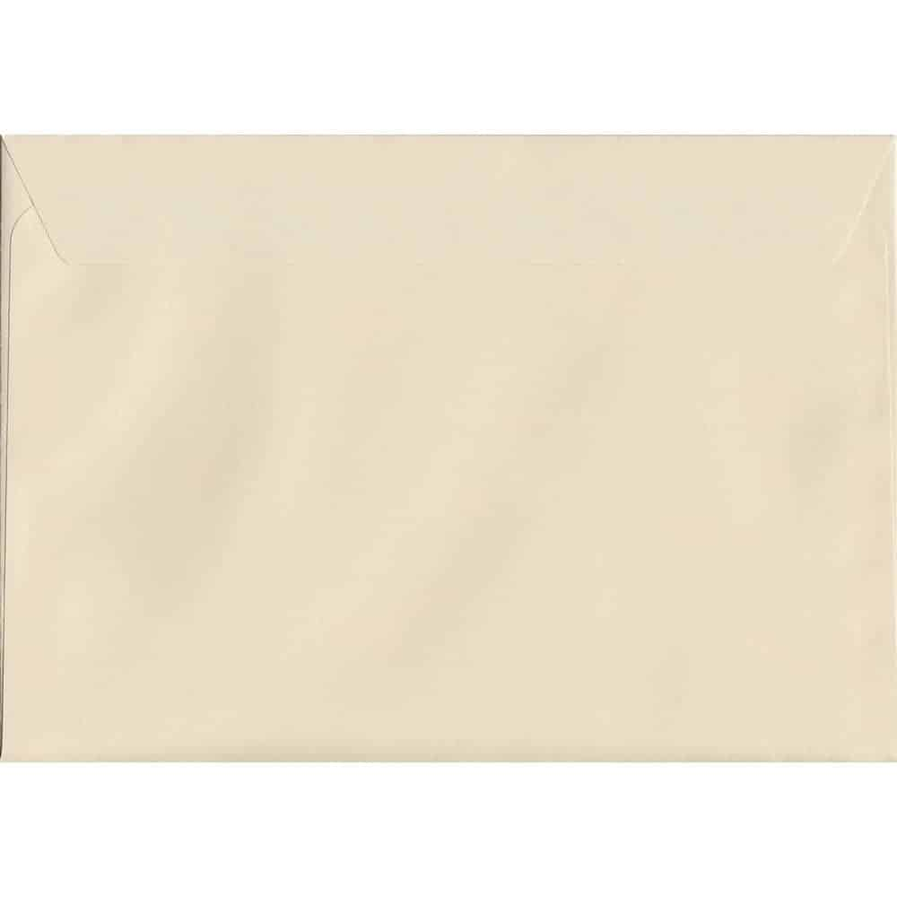 100 A5 Cream Envelopes. Clotted Cream. 162mm x 229mm. 120gsm paper. Peel/Seal Flap.