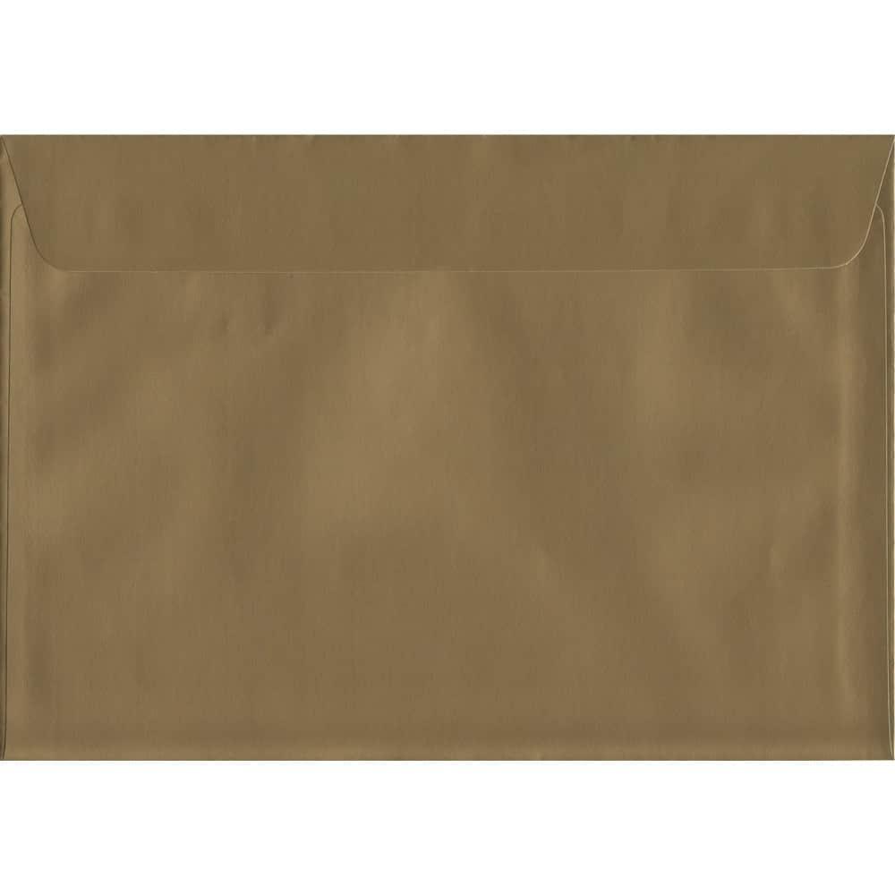 100 A5 Gold Envelopes. Metallic Gold. 162mm x 229mm. 120gsm paper. Peel/Seal Flap.