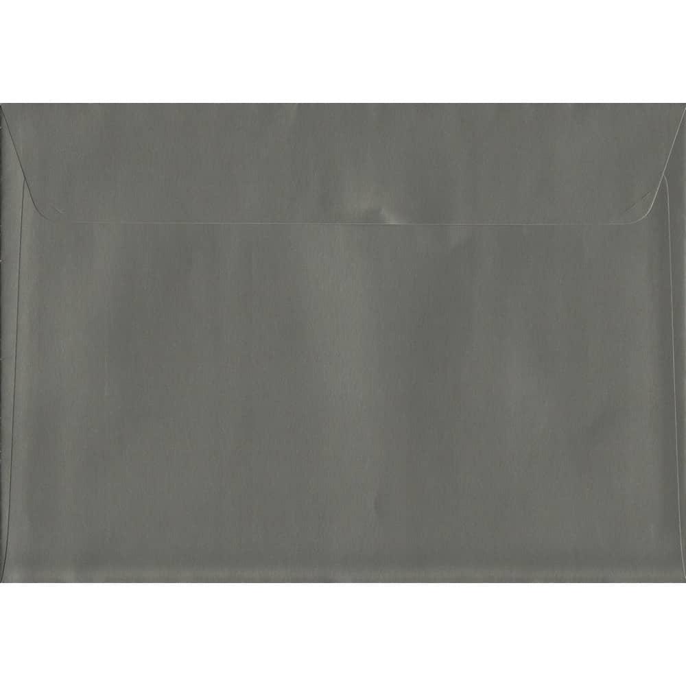 100 A5 Grey Envelopes. Gunmetal Grey. 162mm x 229mm. 120gsm paper. Peel/Seal Flap.
