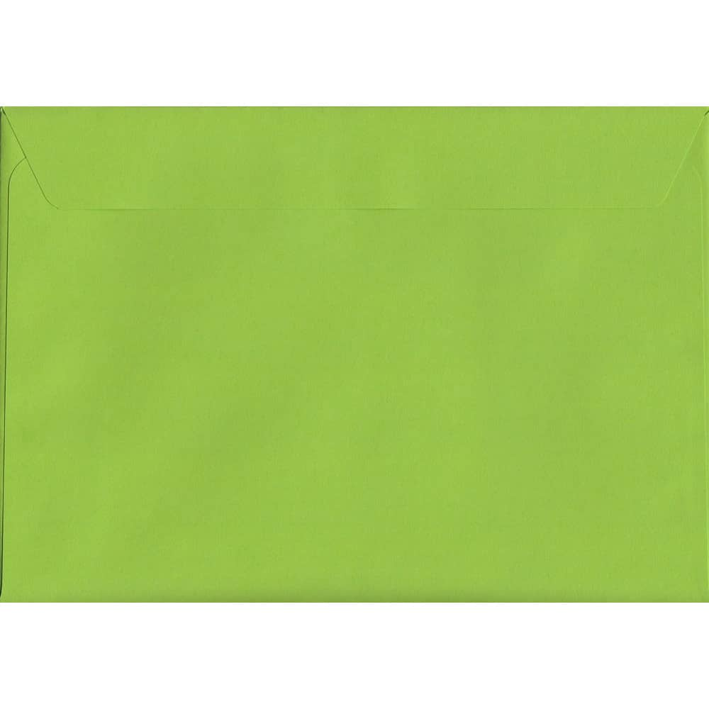100 A5 Green Envelopes. Lime Green. 162mm x 229mm. 120gsm paper. Peel/Seal Flap.