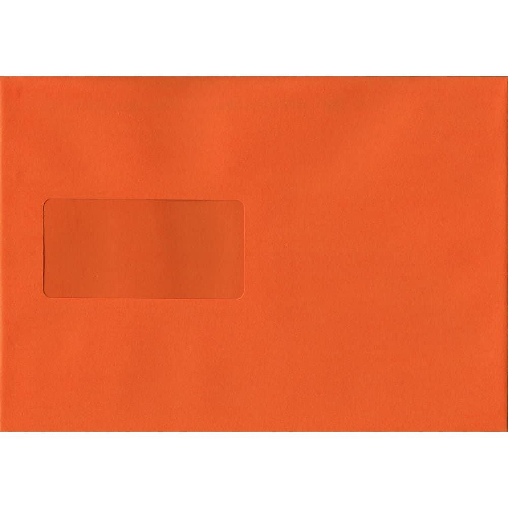100 A5 Orange Envelopes. Orange Windowed. 162mm x 229mm. 120gsm paper. Windowed P/S.