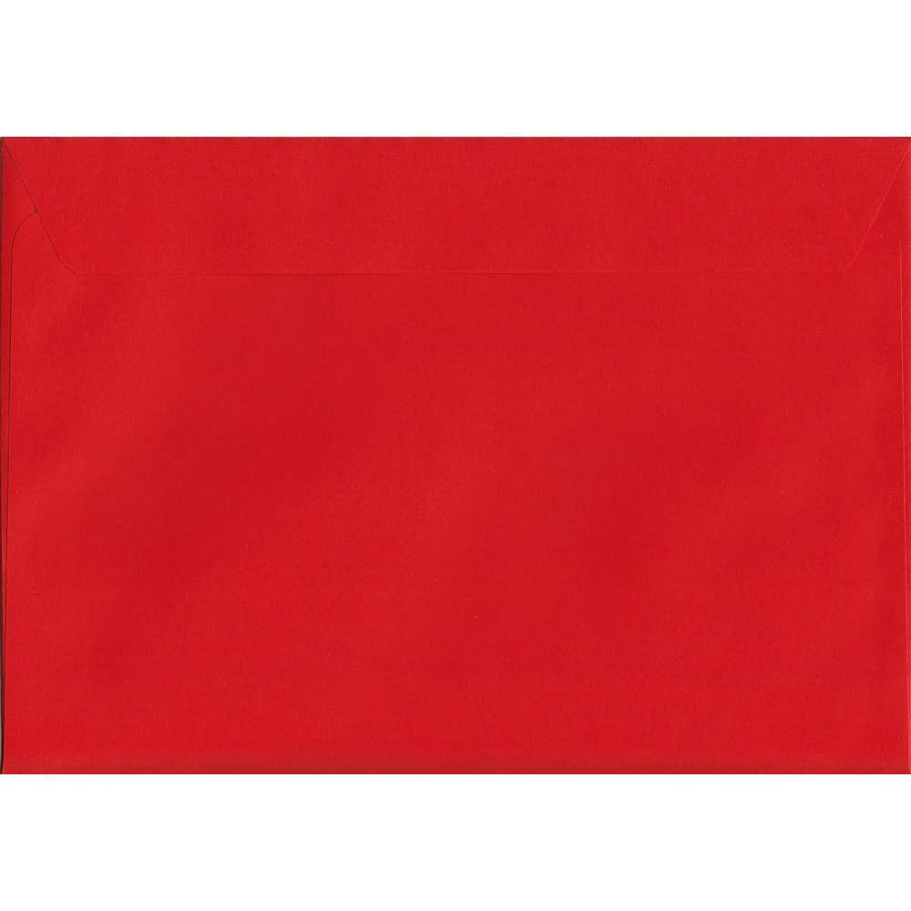 100 A5 Red Envelopes. Pillar Box Red. 162mm x 229mm. 120gsm paper. Peel/Seal Flap.