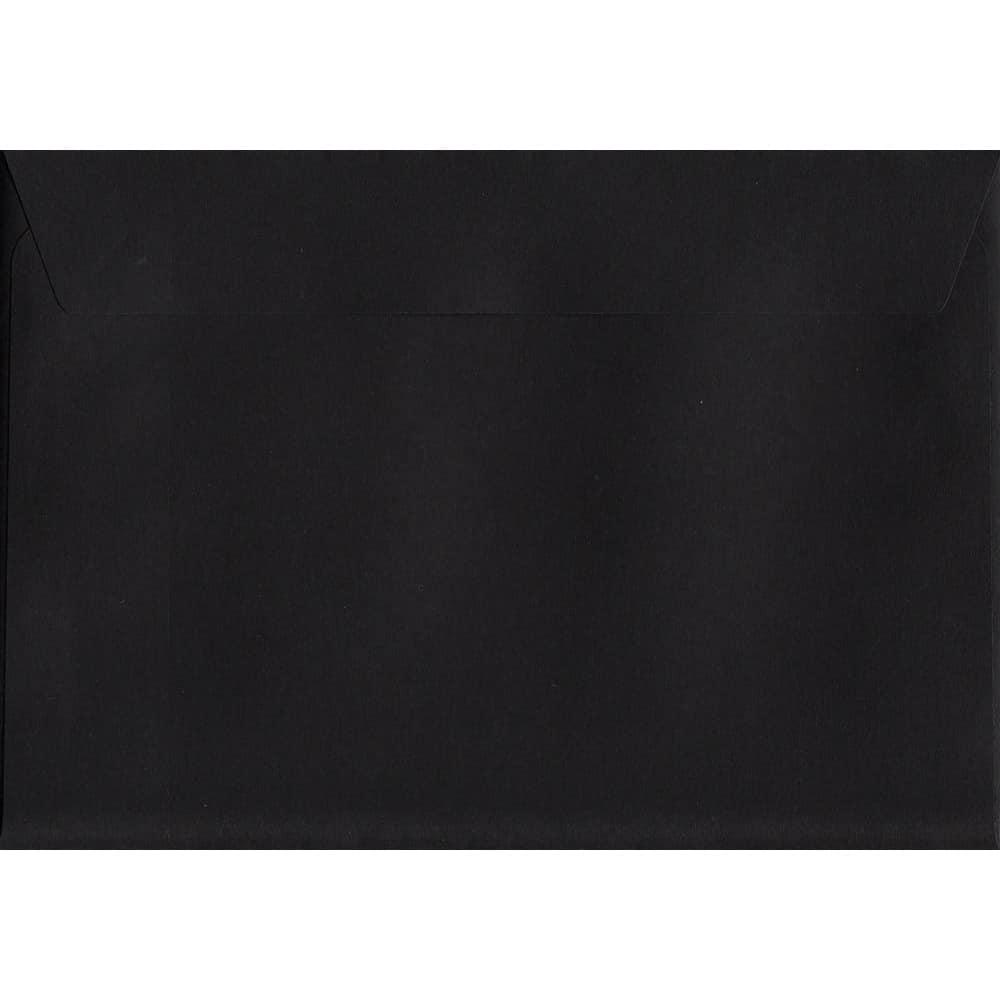 100 A6 Black Envelopes. Luxury Black. 114mm x 162mm. 120gsm paper. Peel/Seal Flap.