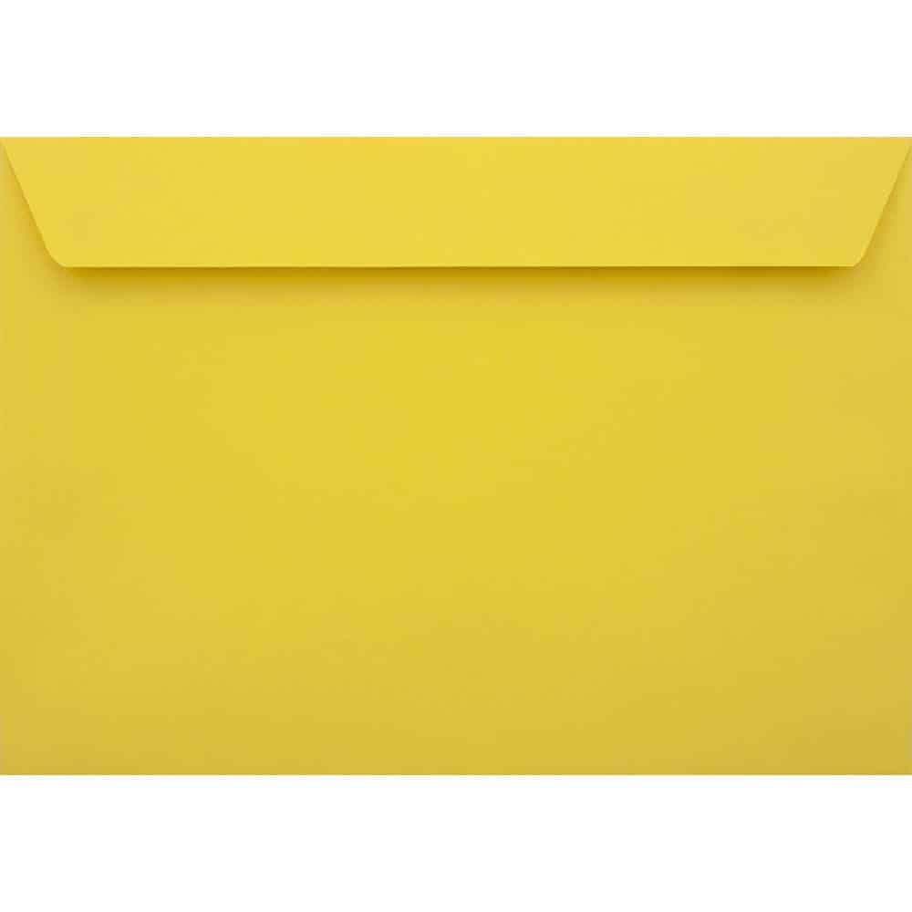 100 A6 Yellow Envelopes. Canary Yellow. 114mm x 162mm. 120gsm paper. Peel/Seal Flap.