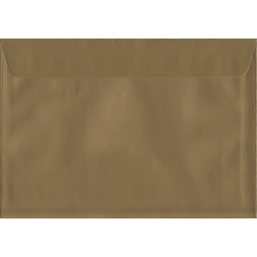 100 A6 Gold Envelopes. Metallic Gold. 114mm x 162mm. 120gsm paper. Peel/Seal Flap.