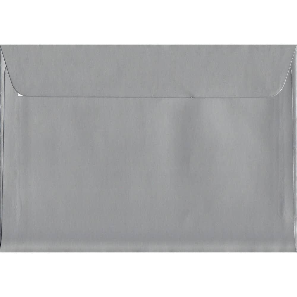 100 A6 Silver Envelopes. Metallic Silver. 114mm x 162mm. 120gsm paper. Peel/Seal Flap.