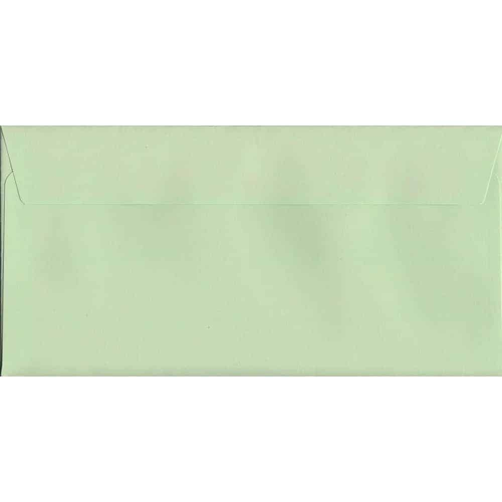 100 DL Green Envelopes. Spearmint Green. 114mm x 229mm. 120gsm paper. Peel/Seal Flap.