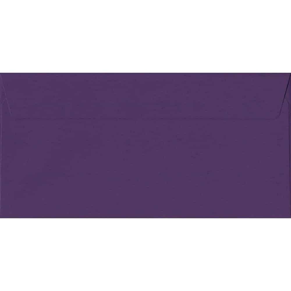 100 DL Purple Envelopes. Blackcurrant. 110mm x 220mm. 120gsm paper. Peel/Seal Flap.