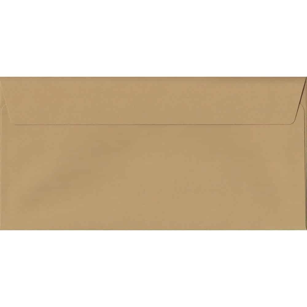 100 DL Beige Envelopes. Biscuit Beige. 110mm x 220mm. 120gsm paper. Peel/Seal Flap.
