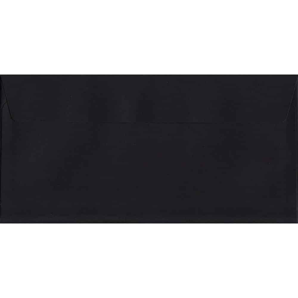 100 DL Black Envelopes. Luxury Black. 114mm x 229mm. 120gsm paper. Peel/Seal Flap.