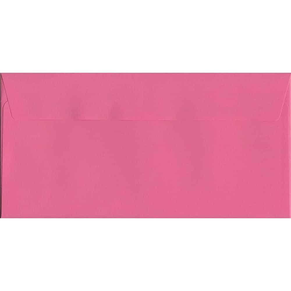 100 DL Pink Envelopes. Cerise Pink. 114mm x 229mm. 120gsm paper. Peel/Seal Flap.