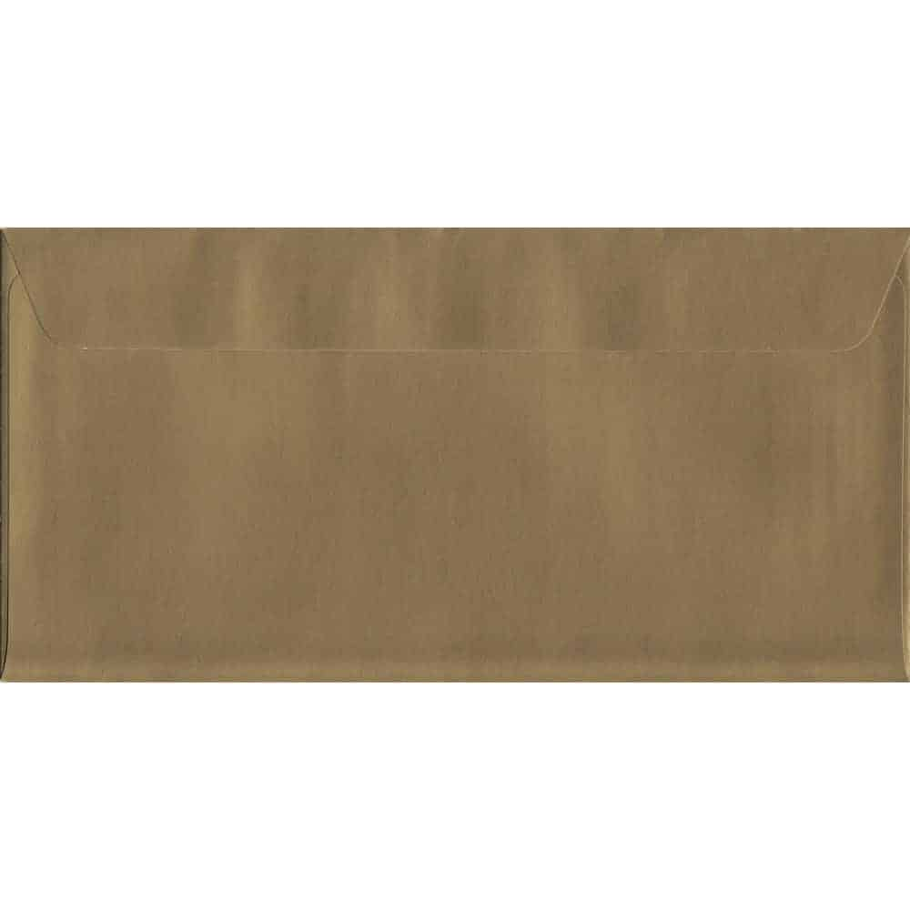 100 DL Gold Envelopes. Metallic Gold. 114mm x 229mm. 120gsm paper. Peel/Seal Flap.
