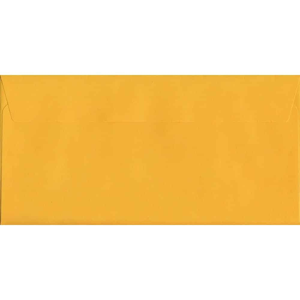 100 DL Yellow Envelopes. Golden Yellow. 114mm x 229mm. 120gsm paper. Peel/Seal Flap.