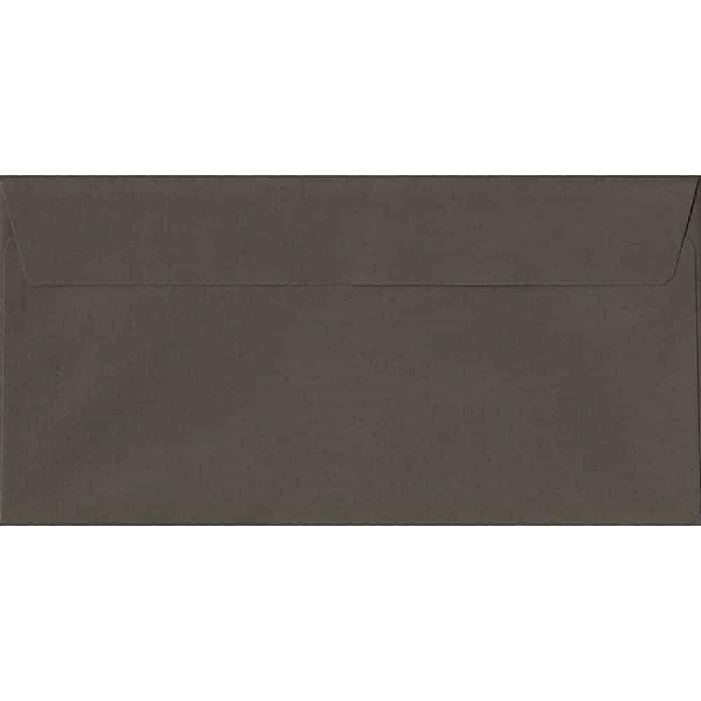 100 DL Grey Envelopes. Graphite Grey. 110mm x 220mm. 120gsm paper. Peel/Seal Flap.