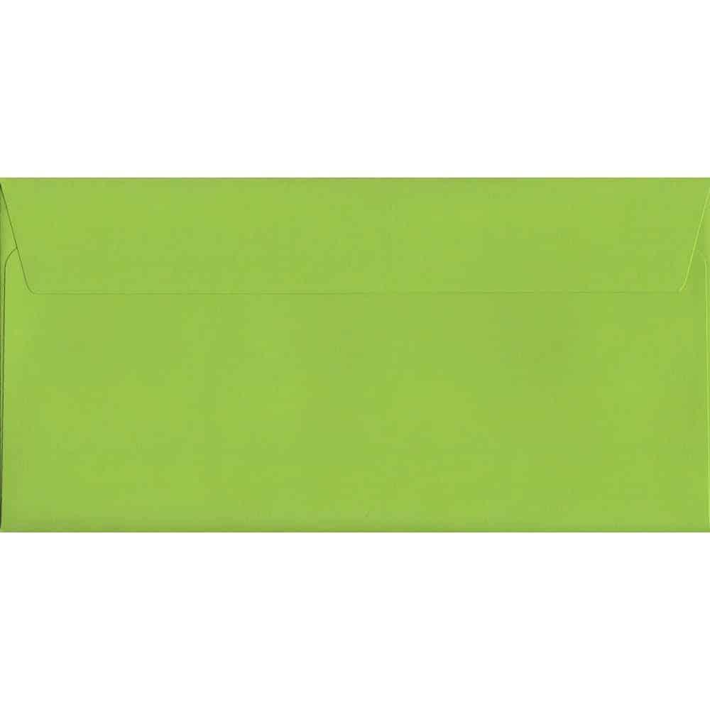 100 DL Green Envelopes. Lime Green. 114mm x 229mm. 120gsm paper. Peel/Seal Flap.