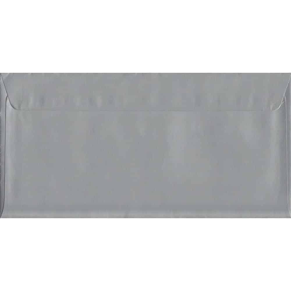 100 DL Silver Envelopes. Metallic Silver. 114mm x 229mm. 120gsm paper. Peel/Seal Flap.