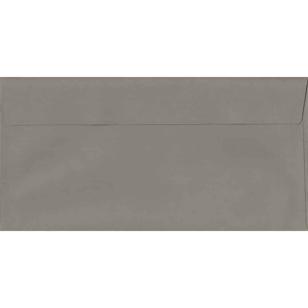 100 DL Grey Envelopes. Storm Grey. 110mm x 220mm. 120gsm paper. Peel/Seal Flap.