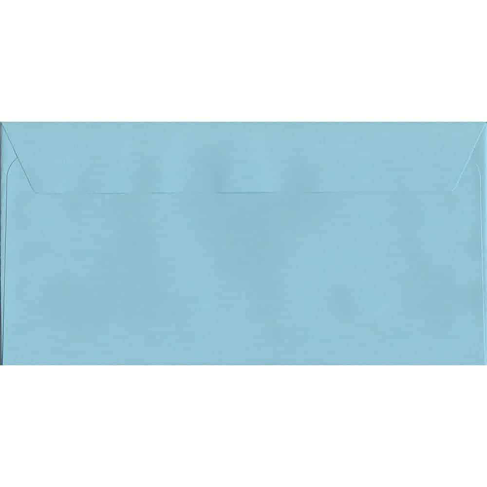 100 DL Blue Envelopes. Cotton Blue. 114mm x 229mm. 120gsm paper. Peel/Seal Flap.