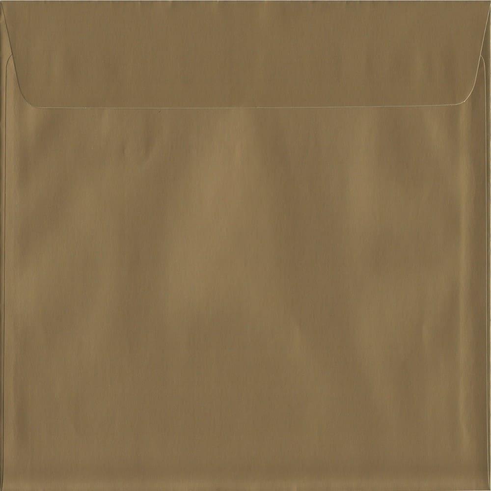 50 Large Square Gold Envelopes. Metallic Gold. 220mm x 220mm. 120gsm paper. Peel/Seal Flap.